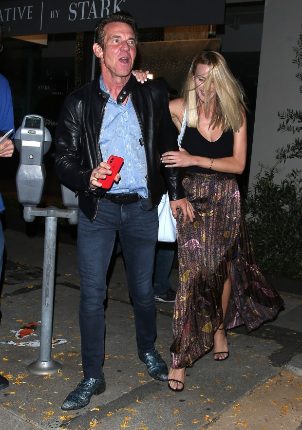 Dennis Quaid and a shy Mystery Blonde girl were seen leaving dinner at 'Craigs' Restaurant in West Hollywood, CA Pictured: Dennis Quaid Ref: SPL5089671 150519 NON-EXCLUSIVE Picture by: SPW / SplashNews.com Splash News and Pictures Los Angeles: 310-821-2666 New York: 212-619-2666 London: 0207 644 7656 Milan: 02 4399 8577 photodesk@splashnews.com World Rights
